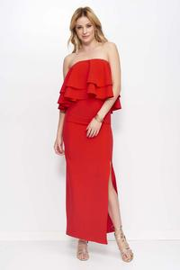 Red Maxi Off Shoulders Dress with Frills