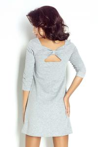 Grey Flared Dress with a Bow