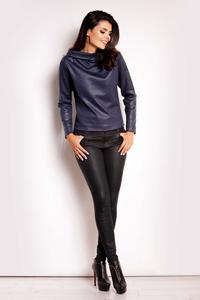 Dark Blue Shiny Fabric Tourtleneck Blouse