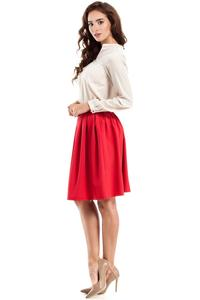 Red Pleated Knee Length Skirt