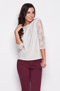 Ecru Bateau Neckline Floral Lace Blouse with 3/4 Sleeves