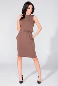 Brown Sleeveless Side Pockets Casual Dress