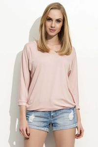 Powder Pink 3/4 Sleeves Simple Blouse