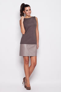 Grey Leather Hemline Sleeveless Shift Dress