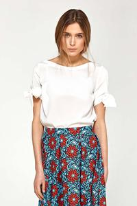 Ecru Short Sleeves Blouse with Bows on the Sleeves