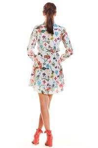 Ecru Long Sleeve Flowers Blouse