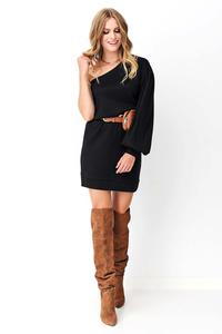 Black Knitted Mini One Shoulder Dress