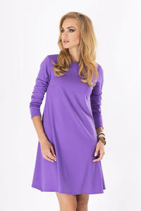 Purple Plain Long Sleeves Dress