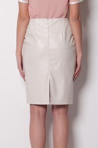 Pencil Leather Ecru Skirt with Back Seam zip Fastening