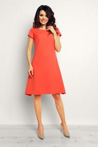 Coral Flared Designe Knee Length Dress