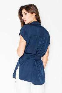 Dark Blue Short Sleeves Short with Self Tie Belt