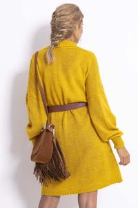 Long, unfastened women's sweater - Yellow