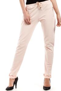 Peach Slim Legs Pants with Zippers