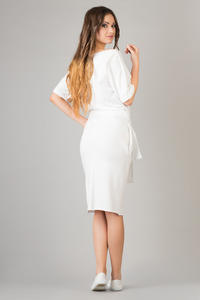 White Loose Neckline Self Tie Belt Casual Dress
