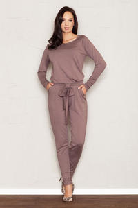 Brown Jumpsuit with Raglan Sleeves and Self Tie Belt