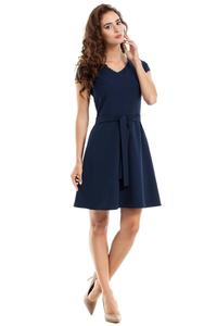 Dark Blue Short Sleeves Belted Mini Dress