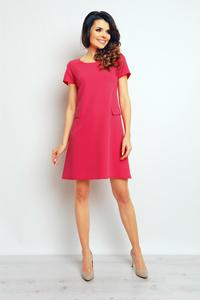 Pink Short Sleeves Flared Dress