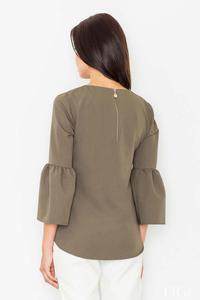 Olive Green 3/4 Sleeves Blouse