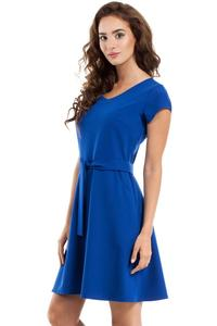 Blue Short Sleeves Belted Mini Dress