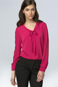 Fuchsia Chiffon Blouse with Bow Neckline and Long Sleeves