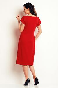 Red Classic Belted Midi Dress
