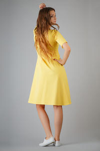 Yellow High Fad Dress with Dipped Hem