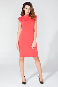 Coral Decorative Drawstring Knee Length Dress