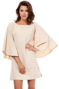 Beige Kimono Sleeves Mini Casual Dress