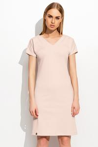 Pink Short Sleeves Plain Dress