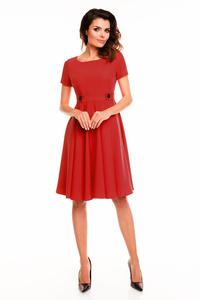 Red Short Sleeves Light Pleats Dress