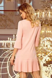 Peach Formal Dress with Pleated Frills