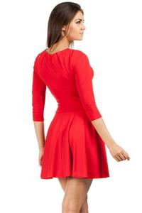 Red Pleated Neckline Flippy Dress