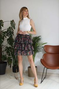 Floral Pattern Frilled Elastic Waist Mini Skirt
