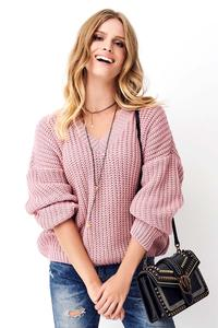 Pink Classic Oversize Sweater with V-neck