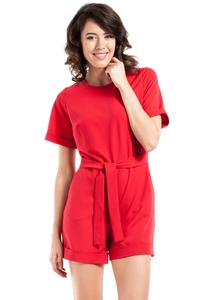 Red Short Sleeves Belted Summer Jumpsuit