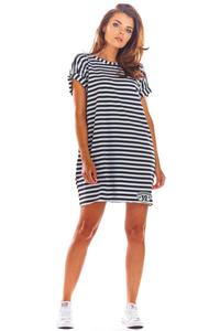 Black Loose Summer Dress with a V-neck on the back with stripes