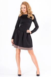 Black Long Sleeved Dress with Contrasting Piping