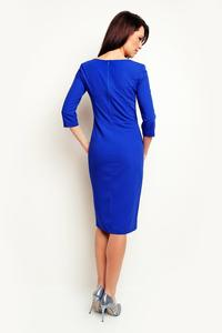 Blue Office Style 3/4 Sleeves Dress with Buttons