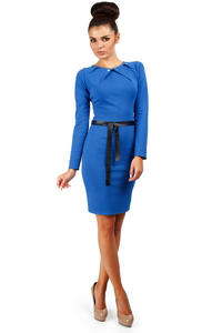 Cornflower Blue Pleated Neckline Shift Dress with Belt
