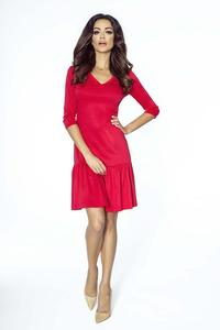 Red Comfy Dress with a Frill