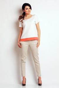 Ecru Classic Short Sleeves Blouse with Contrasting Pipping