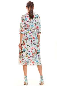 Ecru Romantic Midi Dress with a Floral Pattern