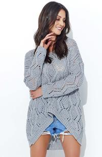 Grey Loose Sweater with a Wide Neckline