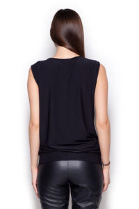Black Sleeveless Drape Blouse with Front Strap