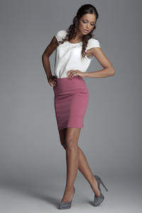 Horizantal Seam Short Pencil Pink Skirt