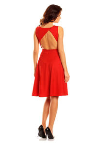 Red Cut Out Back Dress with Button Stud