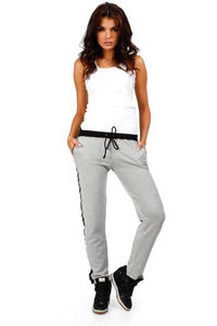 Flecked Grey Pants with Contrast Side Panels