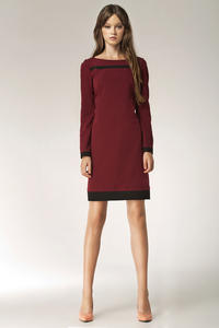 Maroon Stylish Sunken Office Shift Dress