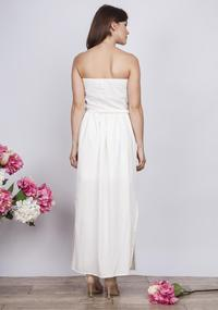 Ecru Maxi Long Off-shoulders Summer Dress