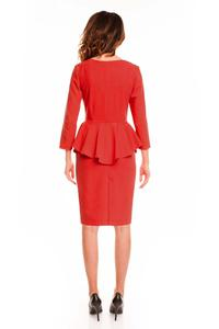 Red Midi Dress with Peplum